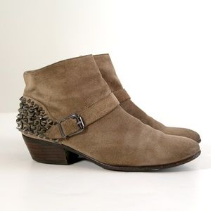 Sam Edelman Pax Spiked Suede Leather Tan Booties